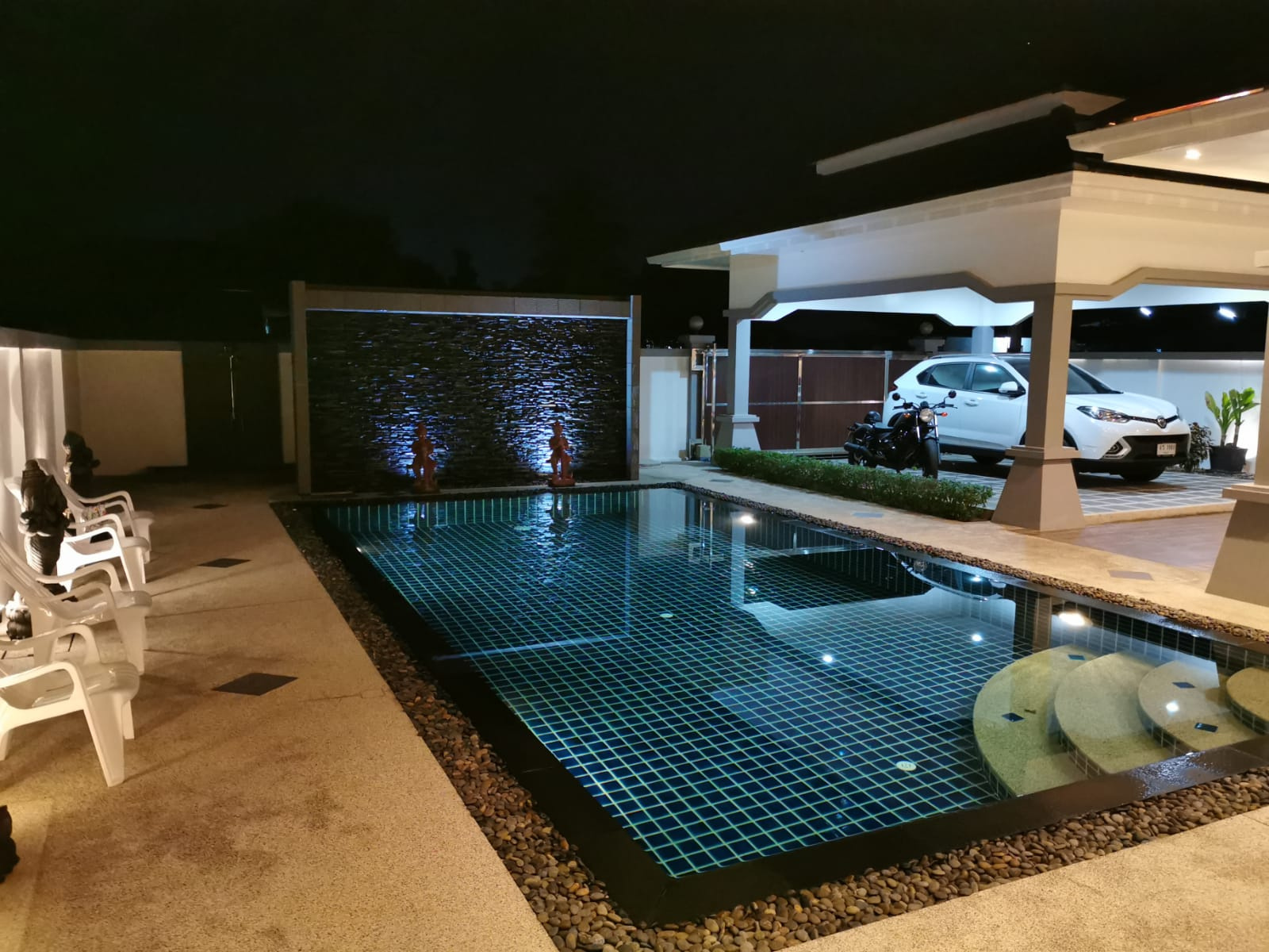 Swimming pool and garage